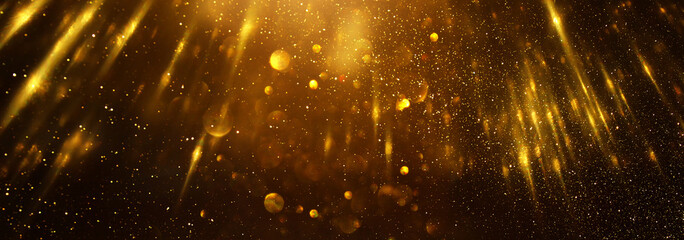 Fototapete - background of abstract glitter lights. gold and black. de focused. banner