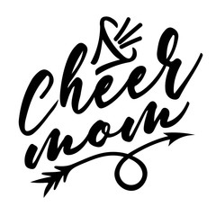 Cheer mom vector design. Sports digital downloads file. Cheerleading sign. Football, Softball, Baseball, Soccer mom. Megaphone image. Isolated transparent background.