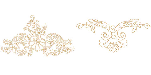 Set of golden vintage baroque ornament, corner. Retro pattern antique style acanthus. Wall mural