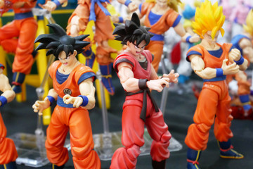 KUALA LUMPUR, MALAYSIA -FEBRUARY 27, 2019: Selected focused of model scale action figures characters from popular Japanese animated series Dragonball. Display by collector and fan on the table.