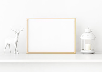 Horisontal christmas poster mockup with golden frame, deer and candle lantern on white wall background. 3D rendering, illustration.