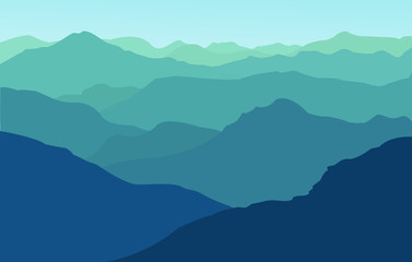 Vector illustration blue mountain landscape.