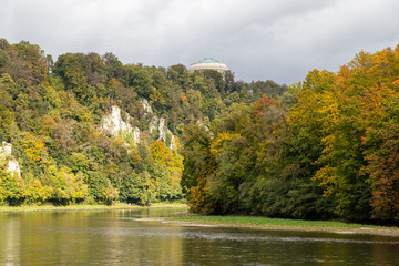 Nature reserve at Danube river breakthrough near Kelheim, Bavaria, Germany in autumn with limestone rock formations and plants with colorful leaves, autumnal impressions