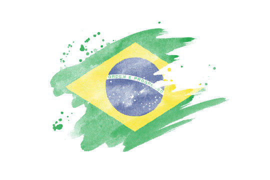 National flag of Brazil. Stylized Brazilian flag with watercolor halftone effect on plain background