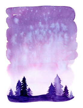 Watercolor christmas winter landscape with snow and trees. Xmas pine and fir. Illustration with snowing for print, texture, wallpaper, background, greeting card. Purple violet color. watercolour