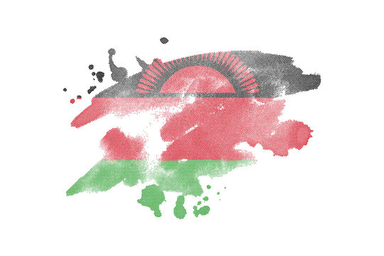 National flag of Malawi. Stylized flag with watercolor halftone effect on plain background