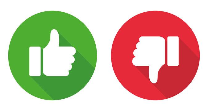 Thumb up and thumb down sign. Vector illustration