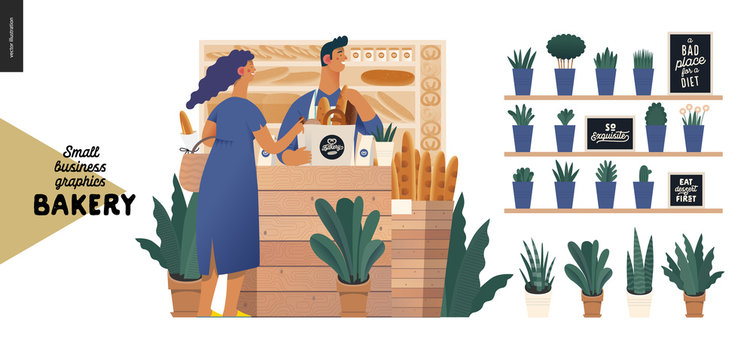 Bakery -small business illustrations -bakery vendor and buyer -modern flat vector concept illustration of a shop assistant wearing apron at the counter with display case and a woman buying bread