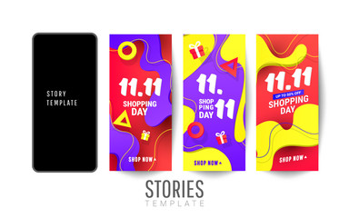 Shopping stories sale banner with plastic liquid gradient wave and triangular gradient volumetric shapes. Decorative editable templates for social media stories