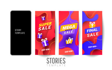 Set of social media stories sale banner background with polygonal gradient shapes. Vertical christmas posters, cards, headers, website.