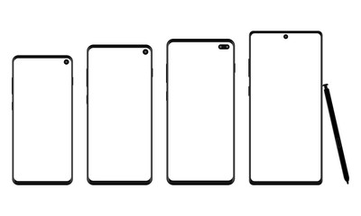 Set of modern wireframe smartphones isolated on white background. Vector illustration
