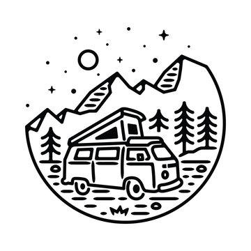 Van Adventure Mountain Line Graphic Illustration Vector Art T-shirt Design
