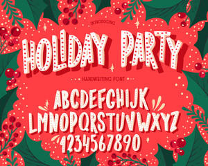 Christmas font. Holiday typography alphabet with festive illustrations and season wishes.