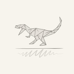 t-rex origami illustration