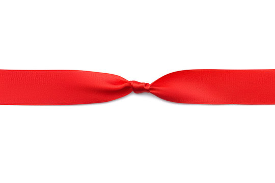 Top view of a red satin bright shiny knotted ribbon  isolated on a white background. Blank for laying bow or other decoration. Flat lay design element.