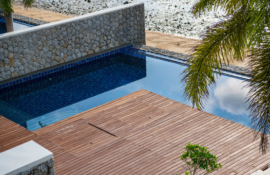 pool and wooden deck at holiday home in Phuket  Thailand