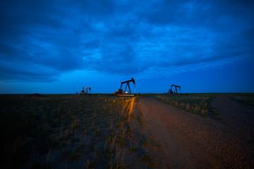 Prairie oil pump jacks pump oil in Alberta