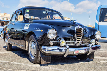 Exhibition of Italian Alfa Romeo company vintage cars with famous model Alfa Romeo 1900 Super supplied to the Italian Police with nickname of Panther, Rome,Italy - September 30, 2018