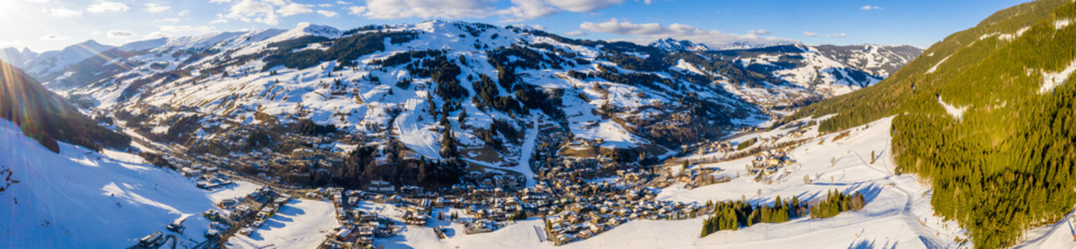 Slope on the skiing resort Flumserberg. Switzerland. Beautiful aerial view of the ski resort village and mighty Alps