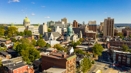 Afternoon light hits the buildings and downtown city center area in Pennsylvania state capital at Harrisburg Fototapete