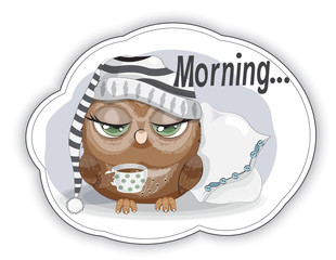 sticker Sleepy Owl with cup of coffee