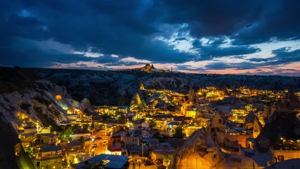 Wall Mural - Time lapse of Goreme town at night in Cappadocia, Turkey.