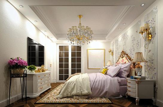 3d render of luxury bedroom