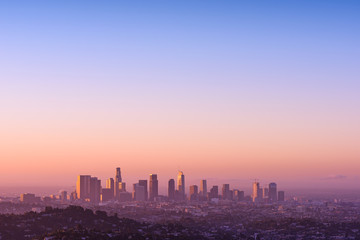 Los Angeles at foggy sunrise