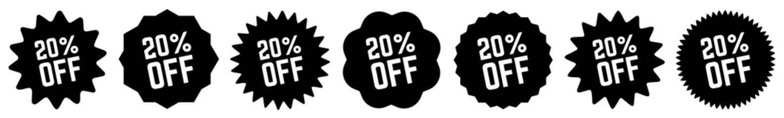 20 Percent OFF Discount Tag Black   Special Offer Icon   Sale Sticker   Deal Label   Variations