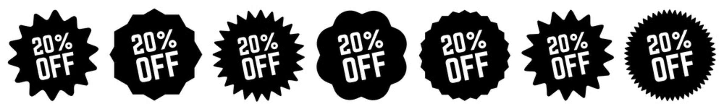 20 Percent OFF Discount Tag Black | Special Offer Icon | Sale Sticker | Deal Label | Variations