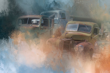 Painterly View of Vintage Cars