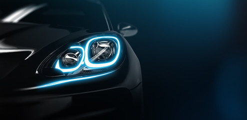 Modern car headlight close up scene (3D Illustration)
