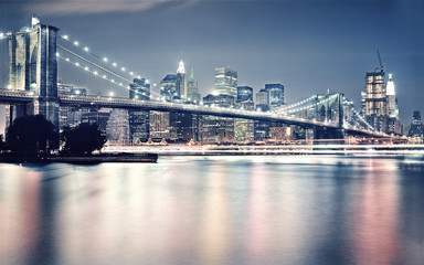 Spoed Fotobehang Brooklyn Bridge brooklyn bridge at night