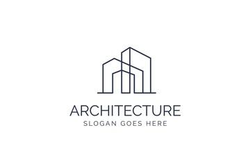 Simple modern building architecture logo design with line art skyscraper graphic Fotomurales
