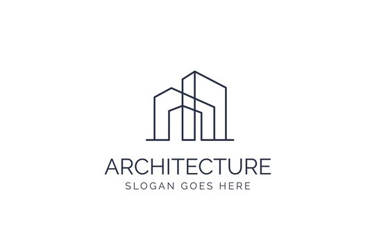 Simple modern building architecture logo design with line art skyscraper graphic