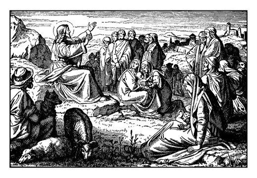 Jesus Teaches the Sermon on the Mount, the Beatitudes vintage illustration.