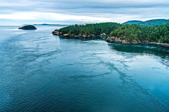 Coastal views of the bay area from a hiking trail in Deception Pass State Park, near Whidbey Island in Washington USA.