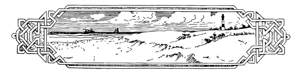 Beach Divider have a beach scene and a lighthouse in this picture, vintage engraving.