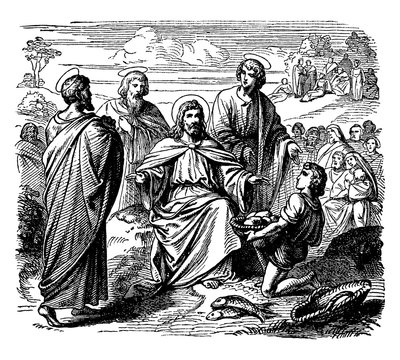 Jesus Feeds the Five Thousand with Five Loaves of Bread and Two Fish vintage illustration.