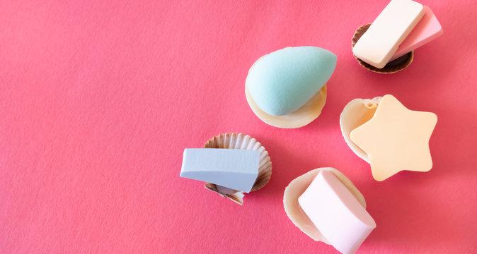 Assorted cosmetic sponges.