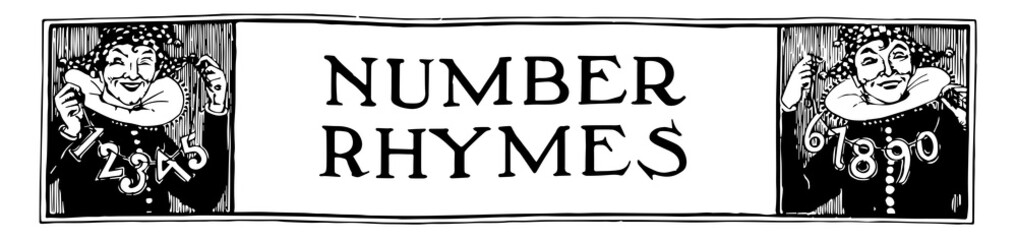 Number Banner decorated with a jester holding numbers, vintage engraving. Wall mural