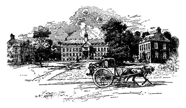 William and Mary College (1723) or College of William and Mary, vintage engraving.