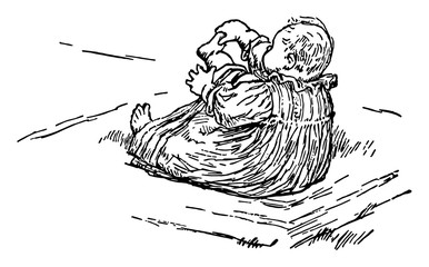 Baby playing with his feet in this picture, vintage engraving.