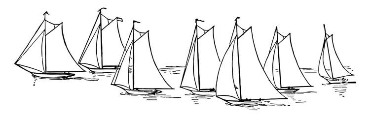 Seven Sailboats, vintage illustration