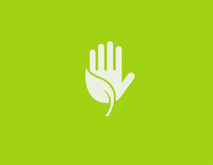 Creative logo icon sign plant leaf and hand in a circle protecting nature