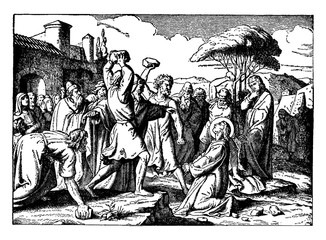 The Stoning of Stephen, the First Martyr vintage illustration.