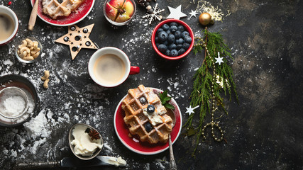 Christmas breakfast with waffles.