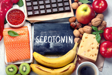 Foods for good mood, brain and happiness. Natural sources of serotonin and dopamine.