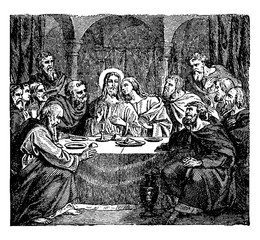 Communion of the Apostles with Jesus at the Last Supper vintage illustration.