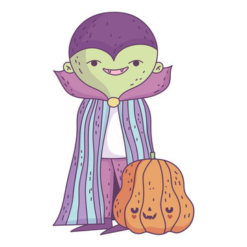 happy halloween celebration boy green monster with cape costume and pumpkin